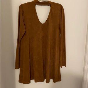 Womens suede choker dress